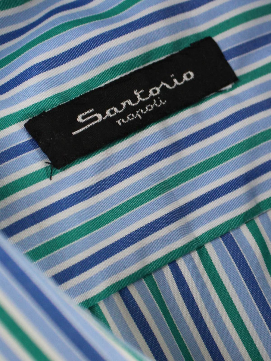 Sartorio Dress Shirt White Blue Navy Green Stripes 39 - 15 1/2 SALE