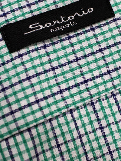 Sartorio Shirt White Green Navy Tatterstall Check 38 - 15 REDUCED -SALE