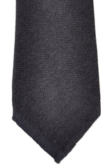 Sartorio Napoli Tie Black Dark Gray Solid Wool Silk Necktie