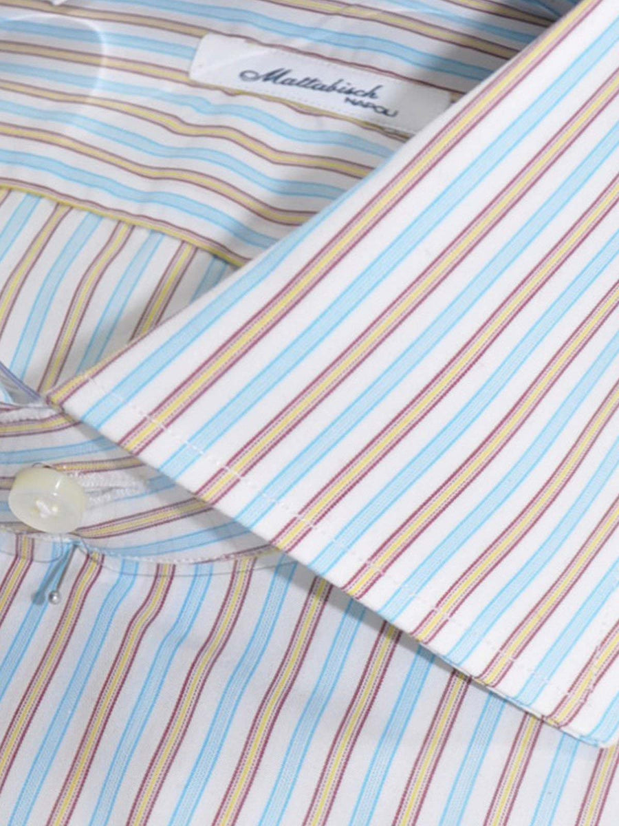 Mattabisch Dress Shirt White Aqua Fuchsia Stripes