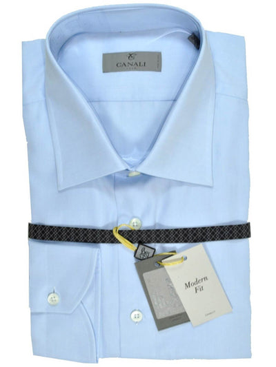 Canali Dress Shirt Light Blue Modern Fit 40 - 15 3/4 SALE