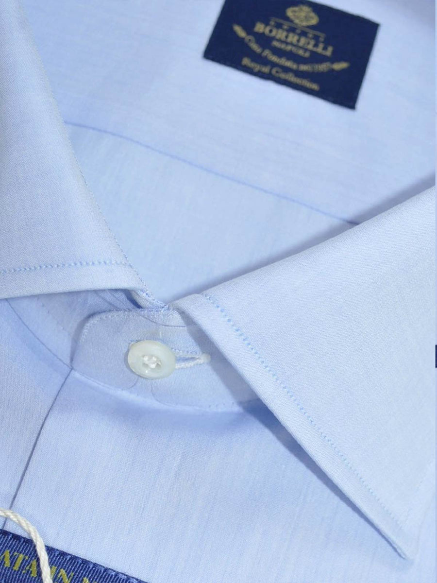 Borrelli Dress Shirt ROYAL COLLECTION Solid Blue