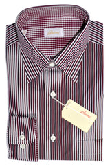 Brioni Shirt Maroon White Black Stripes