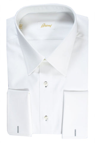Brioni Tuxedo Shirt White French Cuffs Pointed Collar 42 - 16 1/2