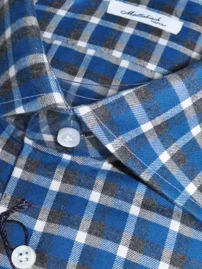 Mattabisch Shirt Teal Blue Gray Plaid Check Design 39 - 15 1/2 REDUCED - SALE