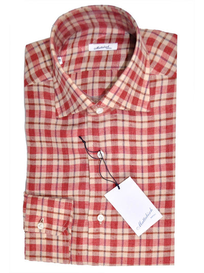 Mattabisch Shirt Pink Navy Brown Plaid Flannel Cotton