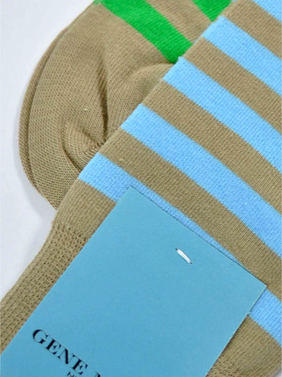 Gene Meyer Socks Taupe Stripes SALE Cool Men Socks FINAL SALE