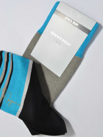 VK Nagrani Socks Black Gray Aqua Stripes SALE