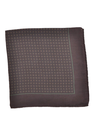Robert Talbott Silk Pocket Square Dark Brown Geometric - Hand Made in Italy