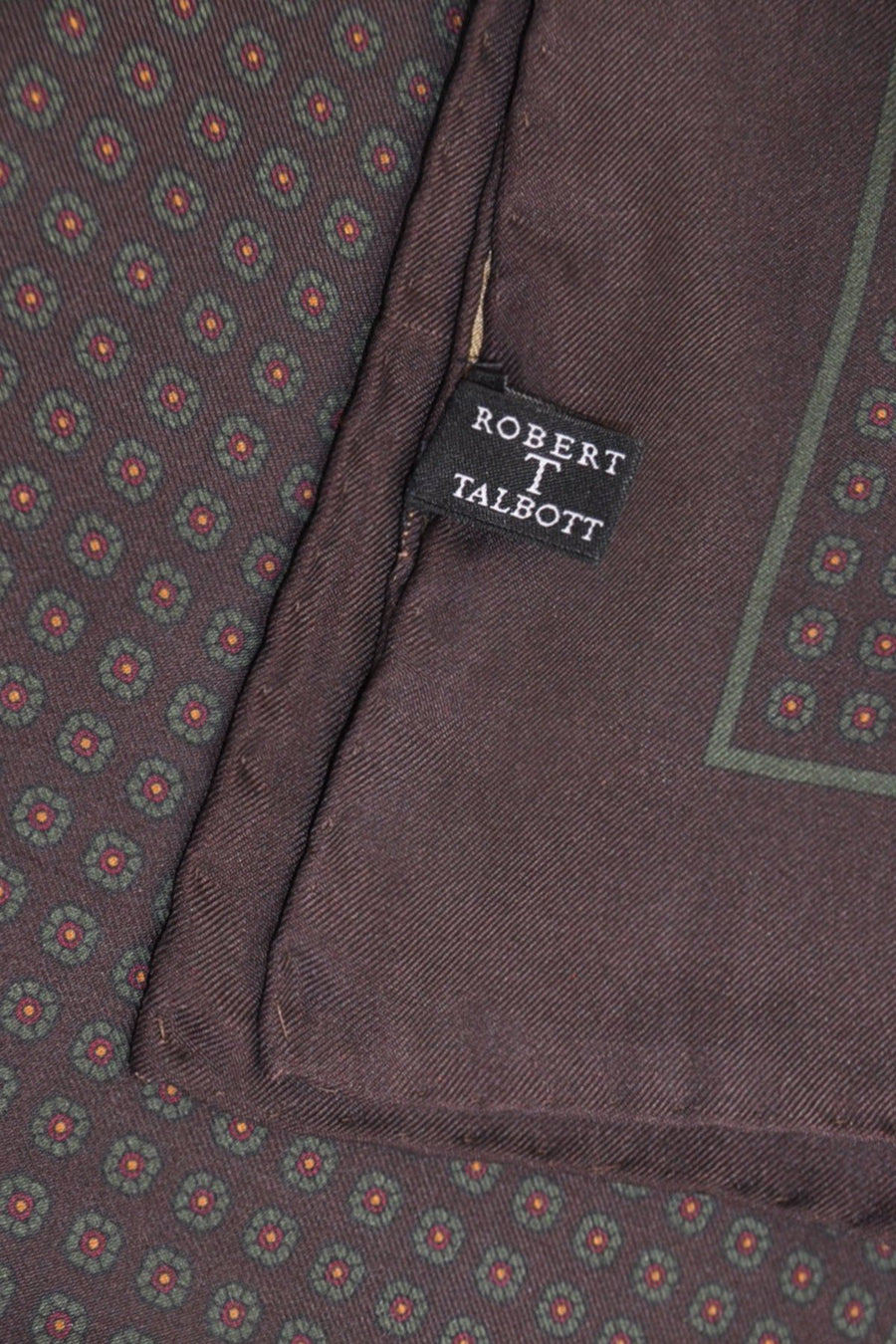 Robert Talbott Silk Pocket Square Dark Brown Geometric