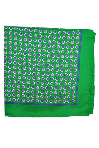 Robert Talbott Silk Pocket Square Green Geometric SALE