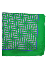 Robert Talbott Silk Pocket Square Green Geometric
