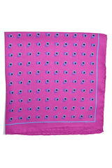 Robert Talbott Silk Pocket Square Hot Pink Squares