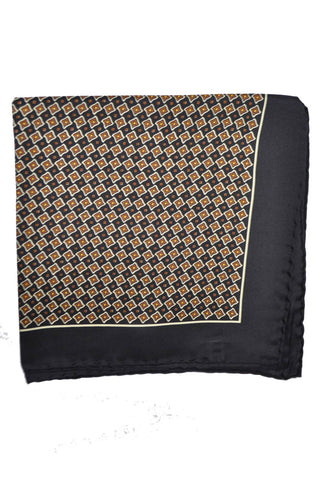 Robert Talbott Silk Pocket Square Black Brown Geometric