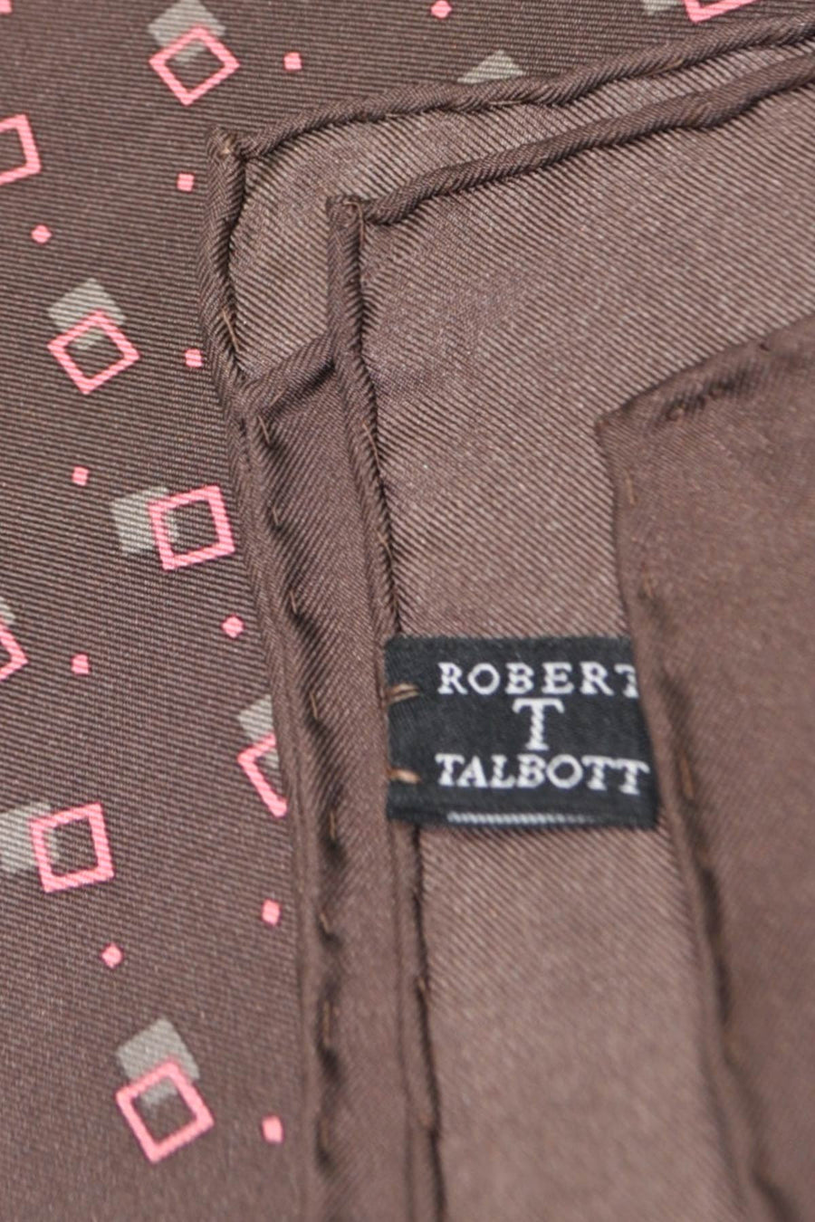 Robert Talbott Silk Pocket Square Brown Pink Squares FINAL SALE