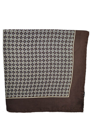 Robert Talbott Silk Pocket Square Brown Geometric Hand Made in Italy