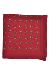 Robert Talbott Wool Pocket Square Burgundy Horse Print