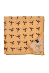Robert Talbott Wool Pocket Square Yellow Birds Print