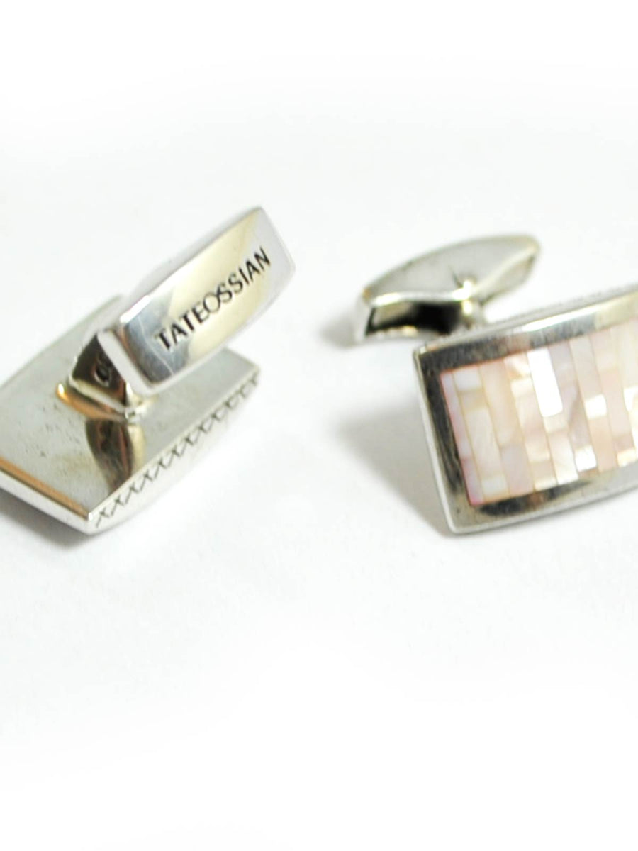 Tateossian Cufflinks Sterling Silver Pink D-Shape Rectangle