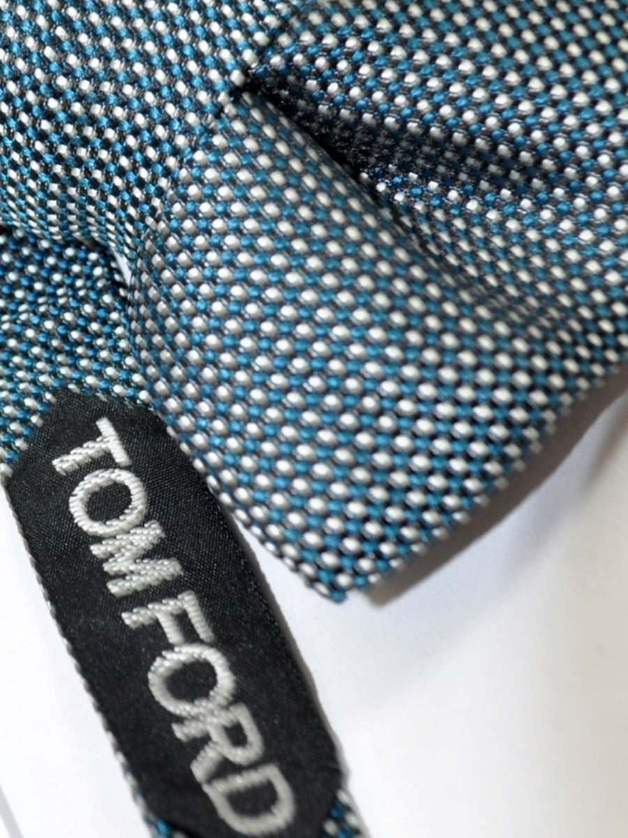 Tom Ford Bow Tie Black Turquoise Silver Mini Dots