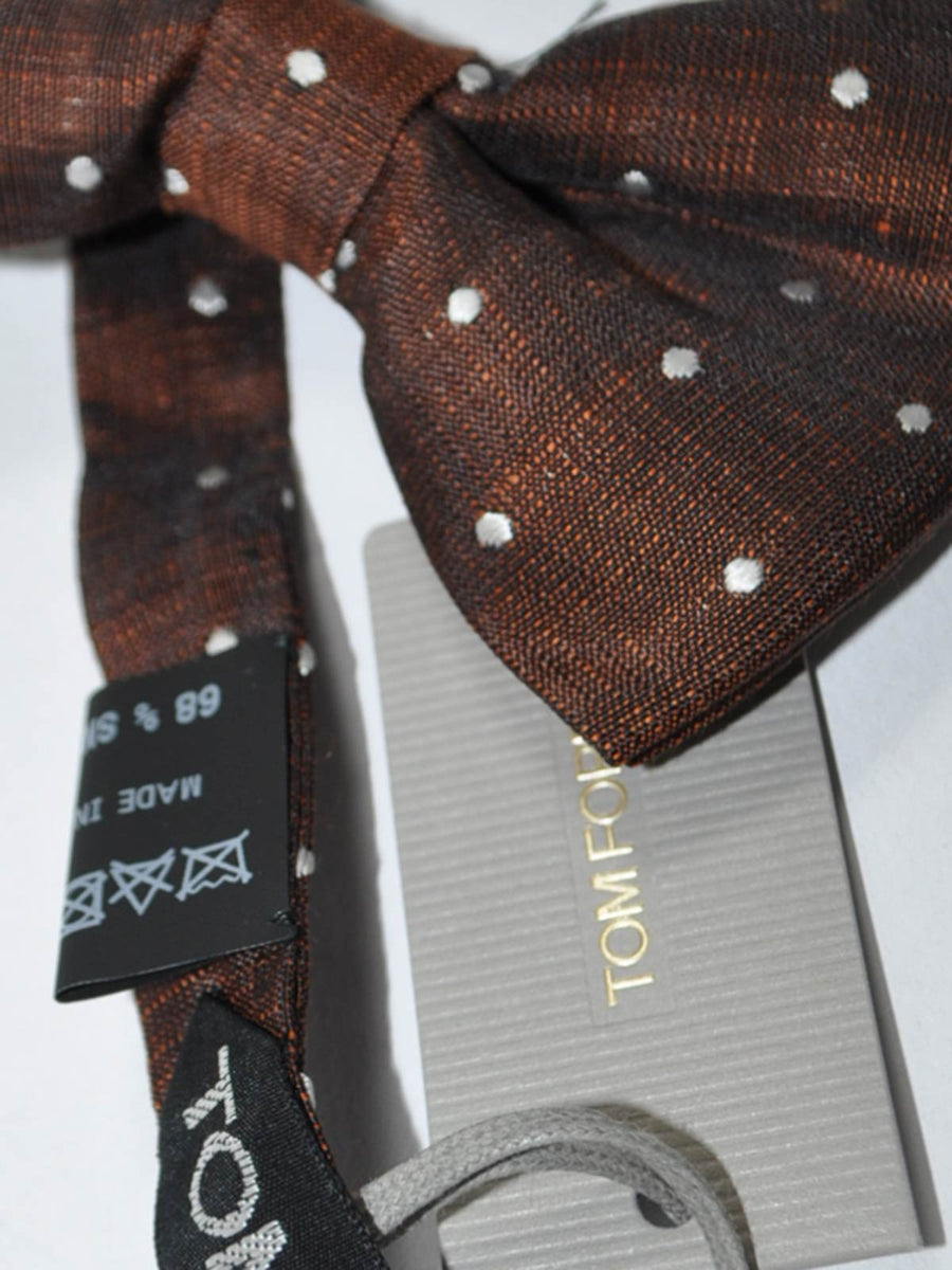 Tom Ford Bow Tie Linen Silk Brown Dots