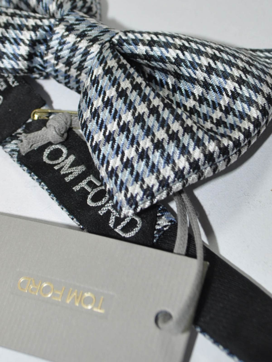 Tom Ford Silk Bow Tie Gray Metal Blue Houndstooth