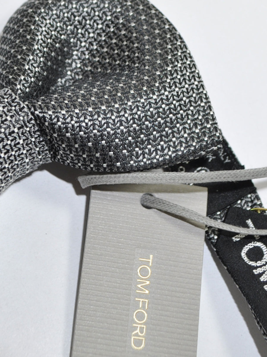 Tom Ford Silk Bow Tie Charoal Gray Silver Mini Dots