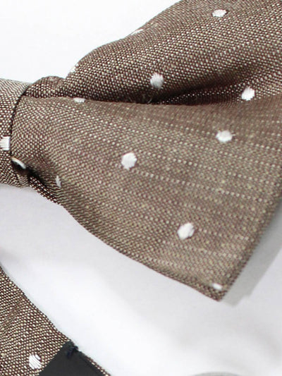 Tom Ford Bow Tie Brown Gray-Silver Dots Linen Blend