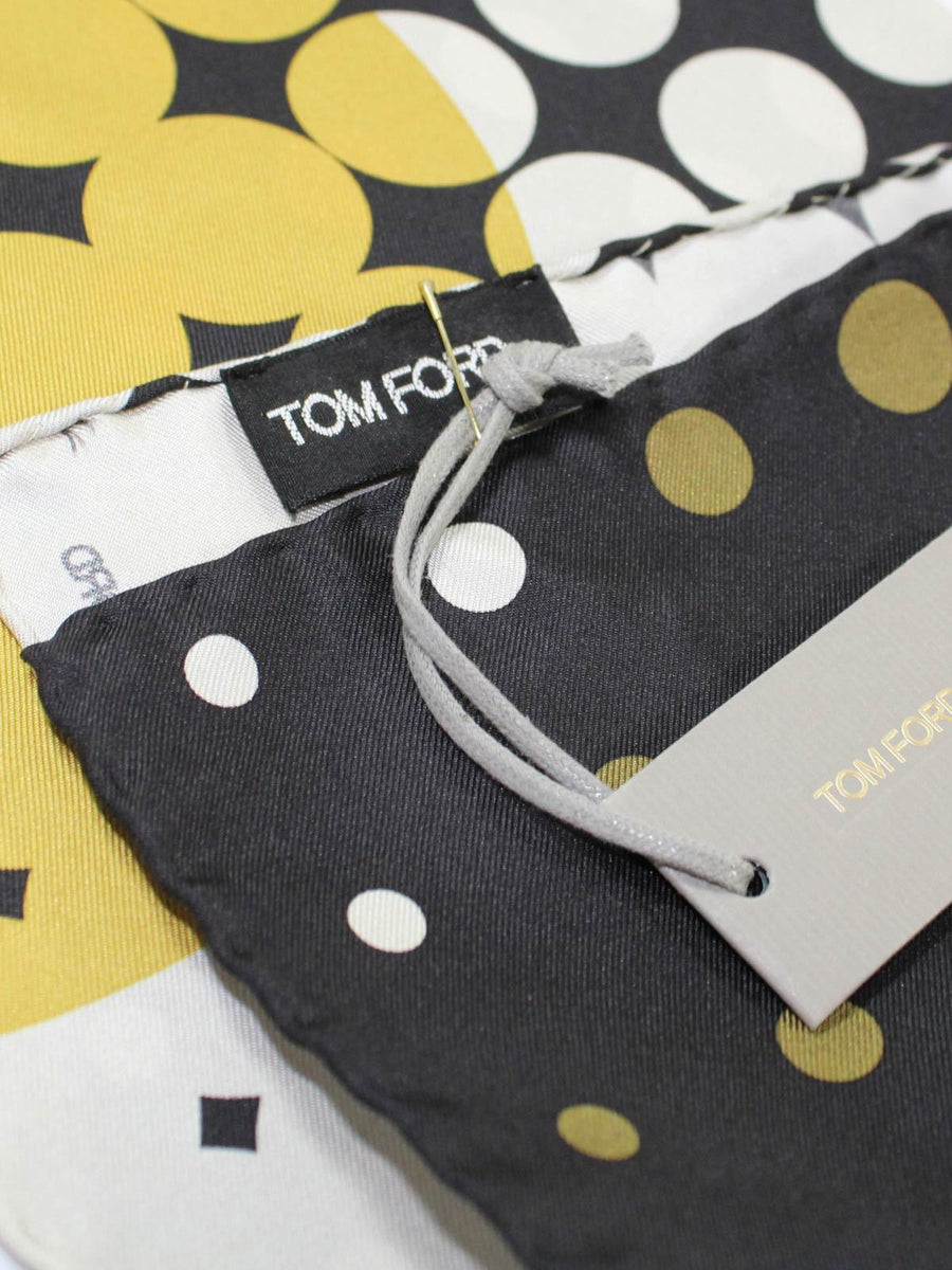 Tom Ford Pocket Square Olive Green Dots New