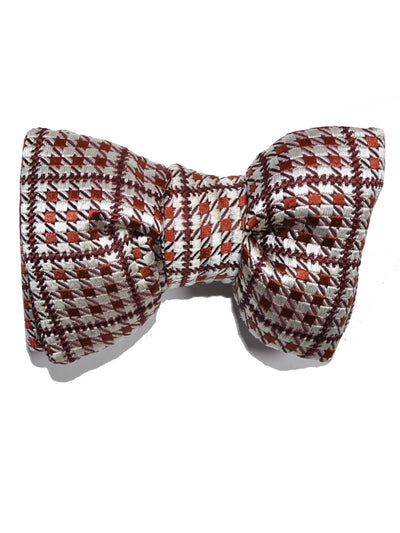 Tom Ford Silk Bow Tie Brown Silver Houndstooth SALE