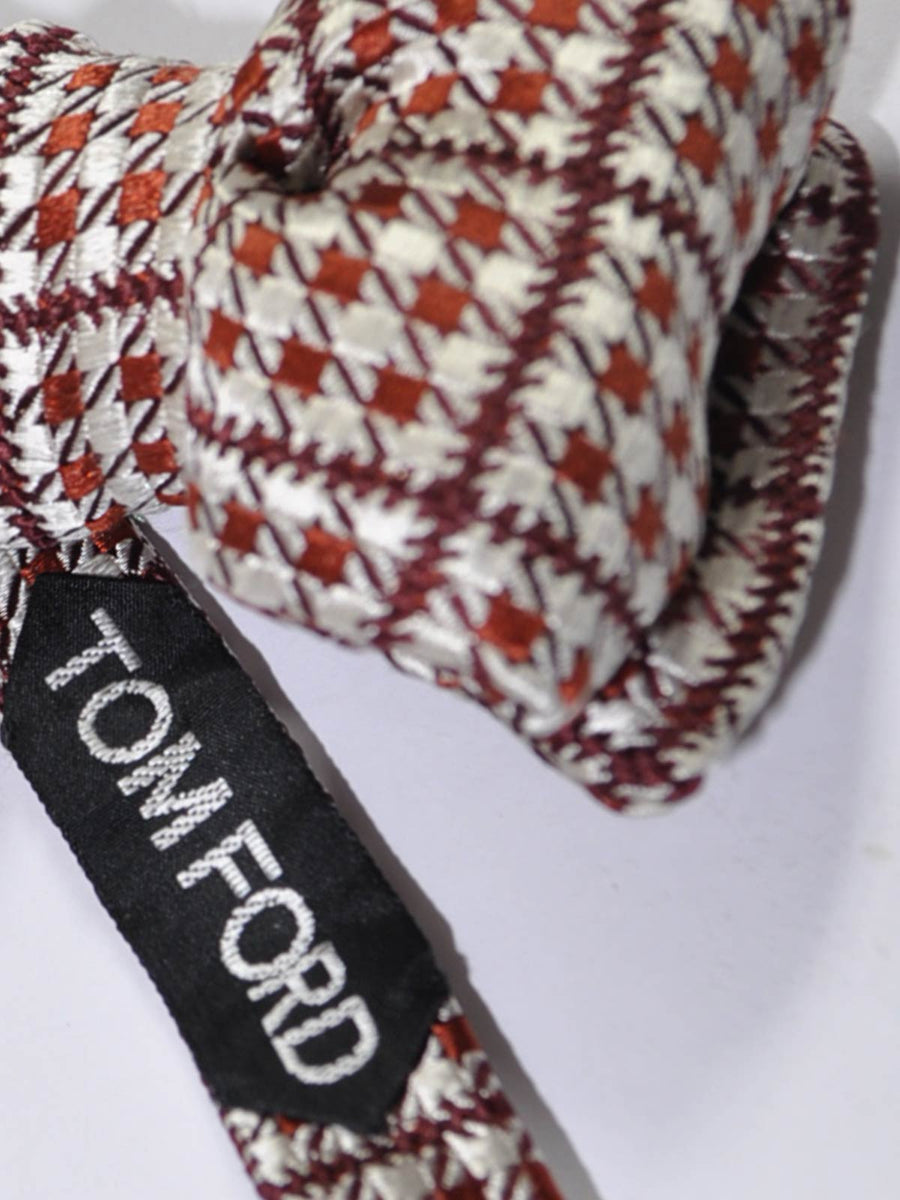 Tom Ford Silk Bow Tie Brown Silver Houndstooth