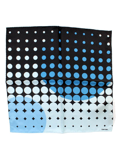 Tom Ford Pocket Square Blue Dots Geometric