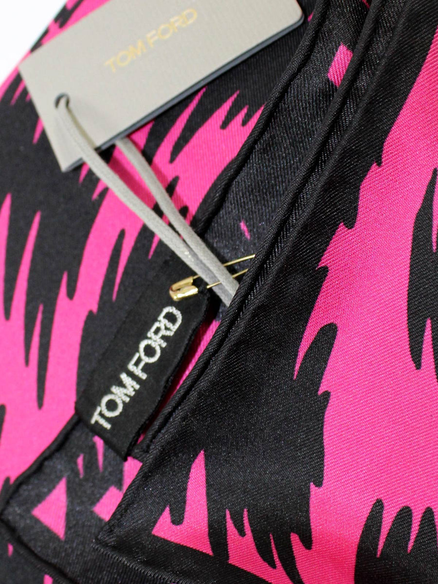 Tom Ford Pocket Square Hot Pink Black Houndtooth