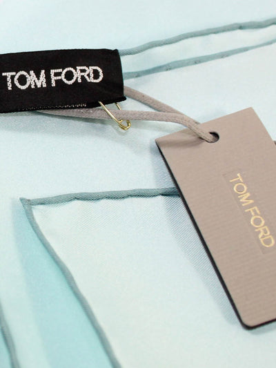 Tom Ford Pocket Square Solid Sky Blue & Dark Blue Trim