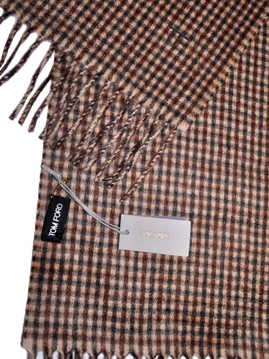 Cashmere Wool Scarf Brown Check