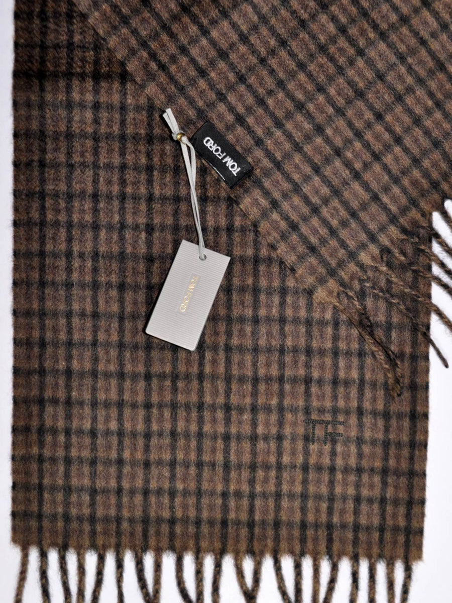 Tom Ford Cashmere Scarf Extra Long Brown Check Scarf