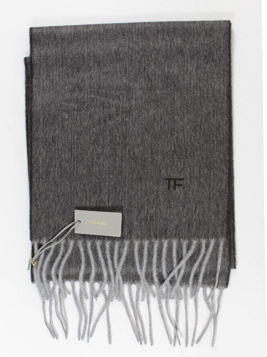 Tom Ford Scarf Solid Charcoal Gray Cashmere