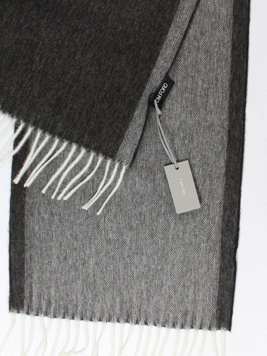 Tom Ford Scarf Solid Charcoal Gray Wool Cashmere Shawl