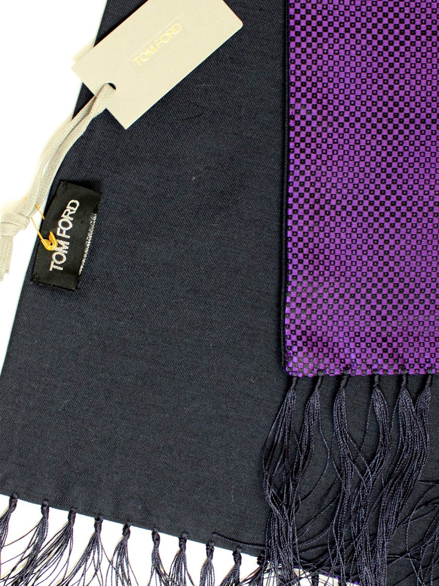 Tom Ford Scarf Purple Design Cashmere Silk Shawl