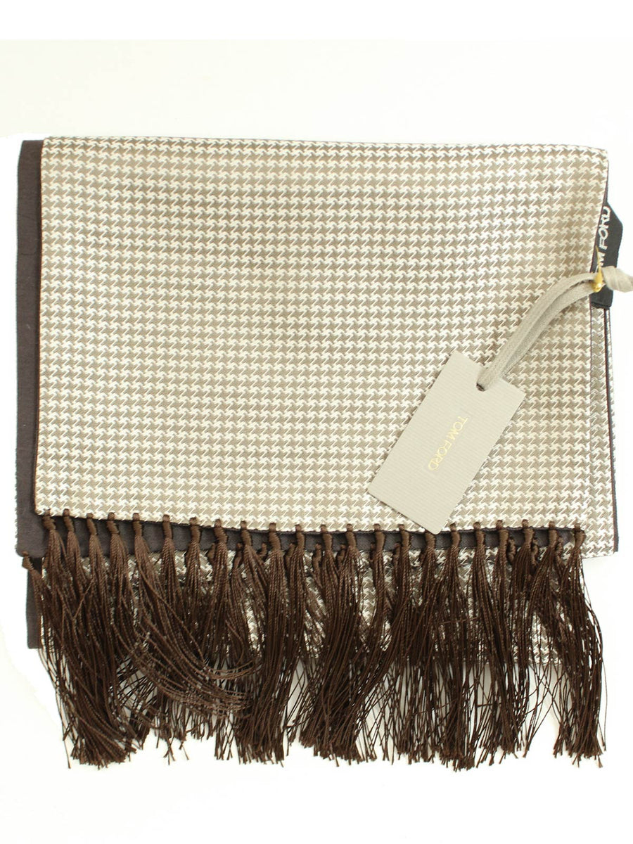 Tom Ford Scarf Taupe Silver Houndstooth Cashmere Silk Shawl