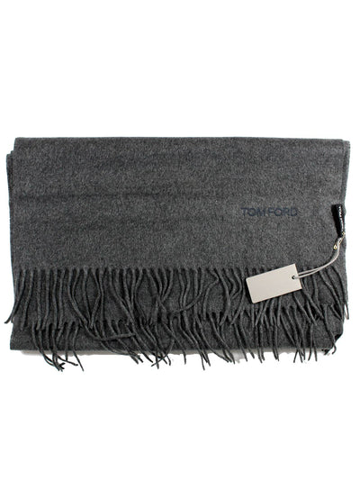 Tom Ford Silk Scarf Solid Charcoal Gray