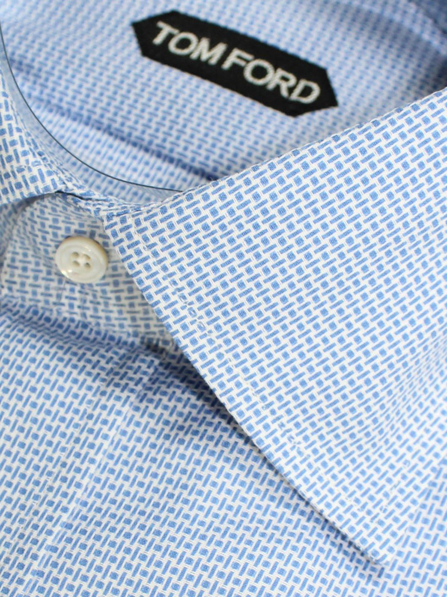 Tom Ford Dress Shirt Blue White Basketweave