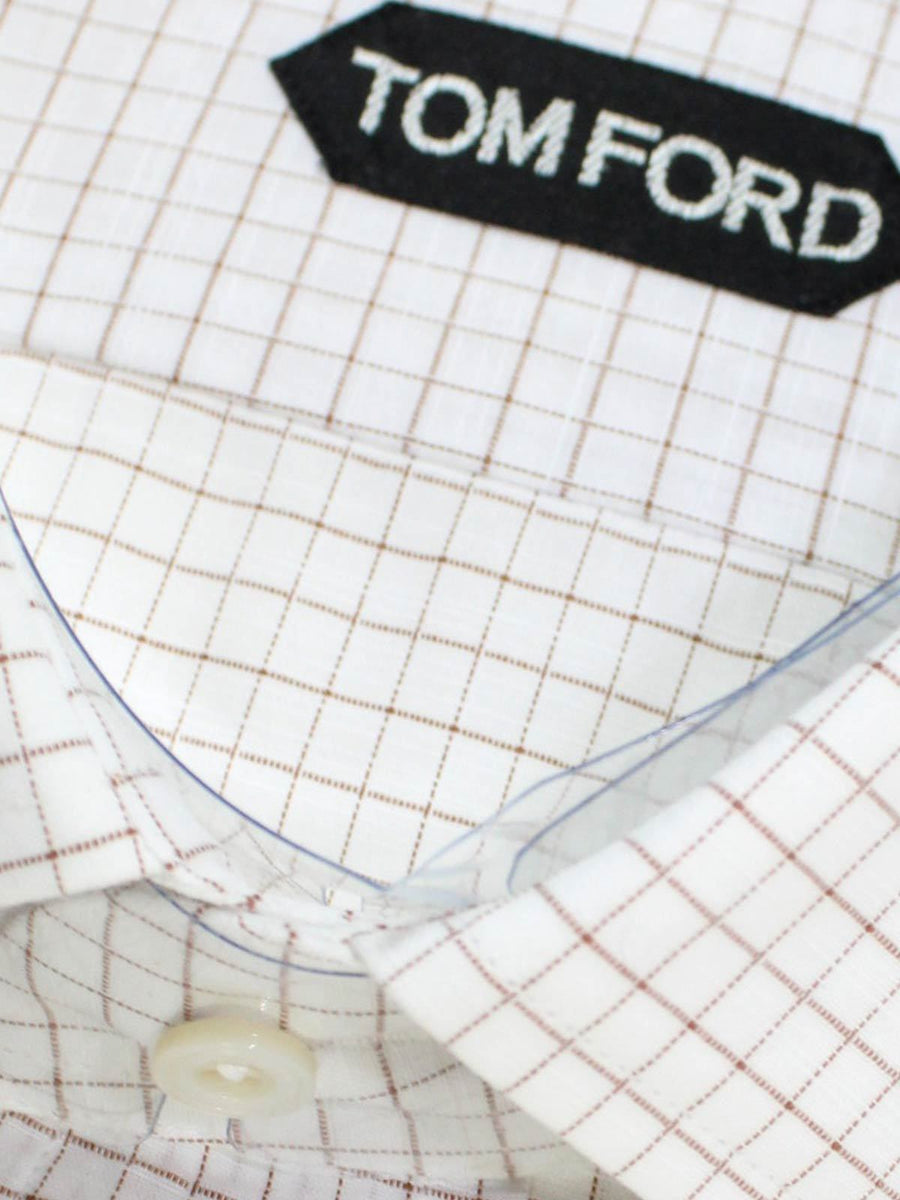 Tom Ford Dress Shirt White Maroon Check