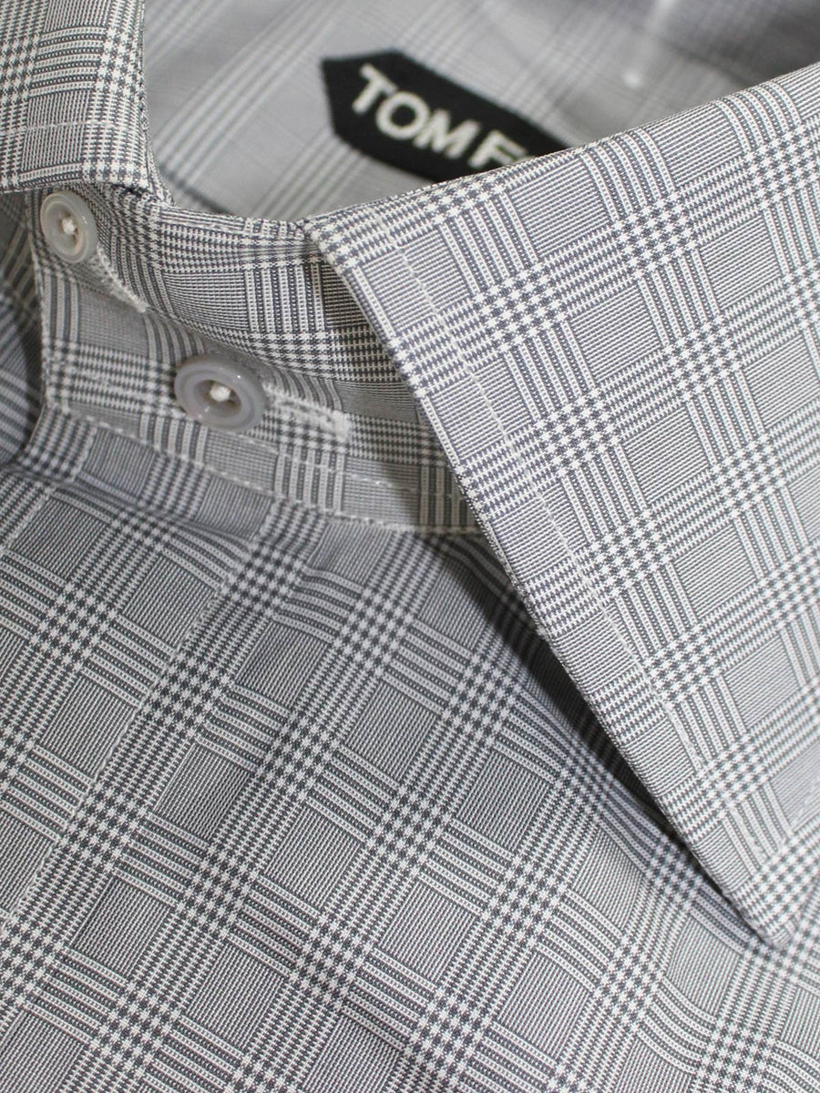 Tom Ford Dress Shirt Gray Check Plaid Slim Fit 39 - 15 1/2