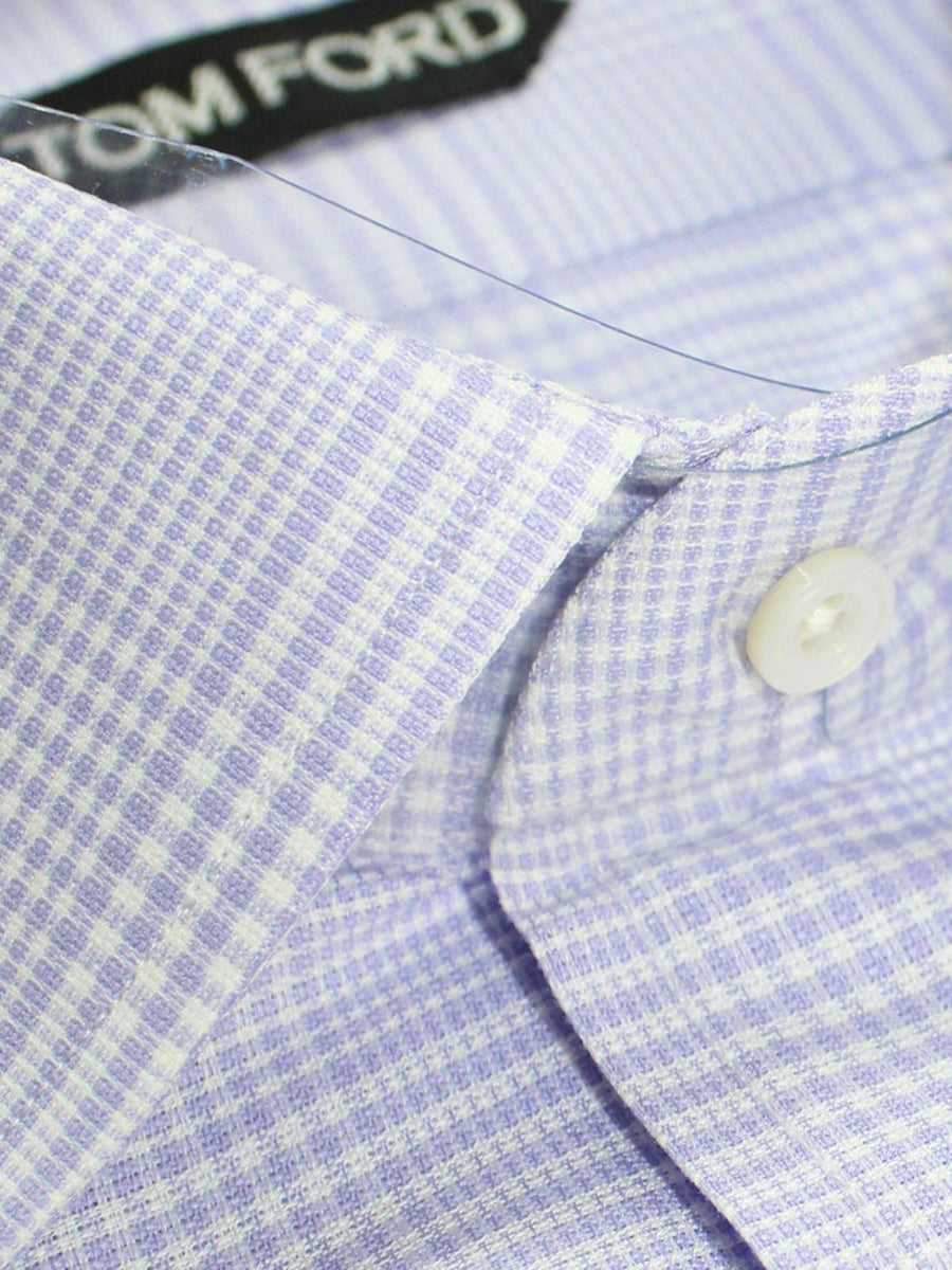 Tom Ford Dress Shirt White Lilac Plaid