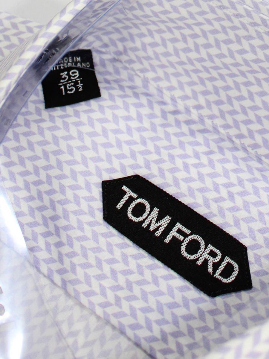 Tom Ford Shirt White Lilac Herringbone