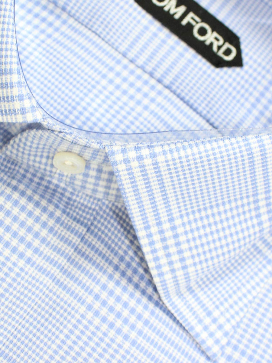 Tom Ford Dress Shirt White Blue Plaid Slim Fit