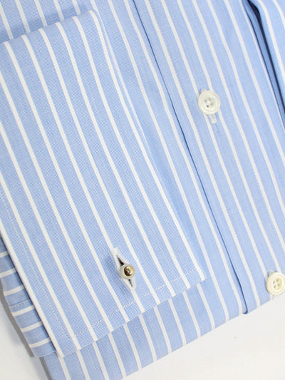 Tom Ford Dress Shirt Blue White Stripes French Cuffs 41 - 16
