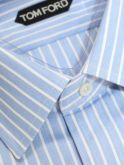 Tom Ford Dress Shirt Blue White Stripes French Cuffs
