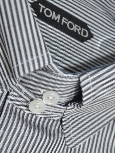 Tom Ford Dress Shirt White Black Stripes 38 - 15 SALE